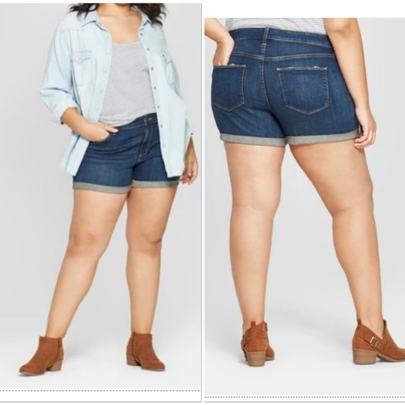 a40f4c35261 Women s Plus Size Roll Cuff Jean Midi Shorts - Uni. NWT. Universal Thread